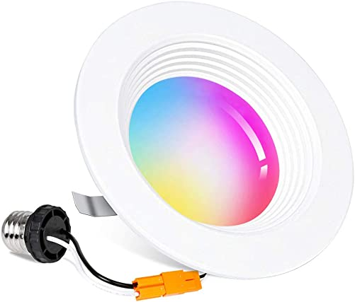 Smart WiFi 4 inch LED Downlight, 10W LED Recessed Dimmable Lighting, Voice Control by Alexa Google Home, Housing Can Ceiling Downlight Color Changing 2700K – 6500K, 850 LM, Baffle Design, No Hub
