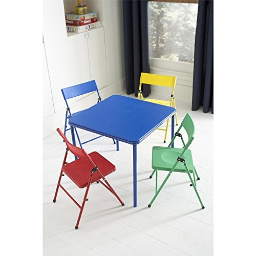 Kid's 5-piece Colored Folding Chair and Table Set (Foldable Table Set)