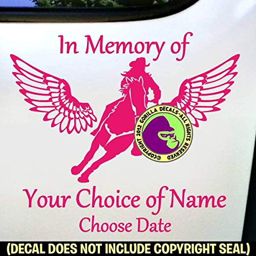 MEMORIAL Barrel Racing Wings ADD CUSTOM WORDS Vinyl Decal Sticker A