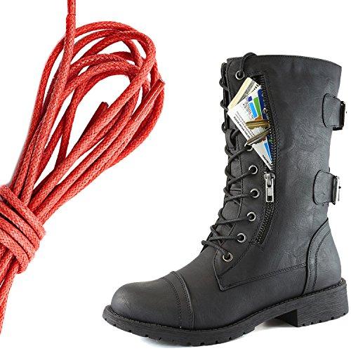 Dailyshoes Donna Militare Allacciatura Fibbia Da Combattimento Stivali Mid Knee Alta Esclusiva Tasca Per Carte Di Credito, Twilight Rosso Nero