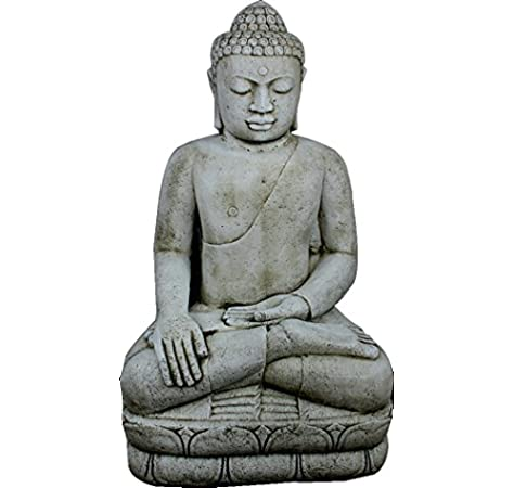 DEGARDEN AnaParra Figura Buda Grande Satisfacción para el jardín Decorativa 107cm. hormigón Color Ceniza: Amazon.es: Jardín