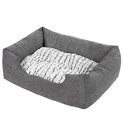 SONGMICS Delux Dog Bed Pet Nest Reversible Mat PV Plush Lining Washable Pooch Lounging Snoozing Grey UPGW26G by SONGMICS