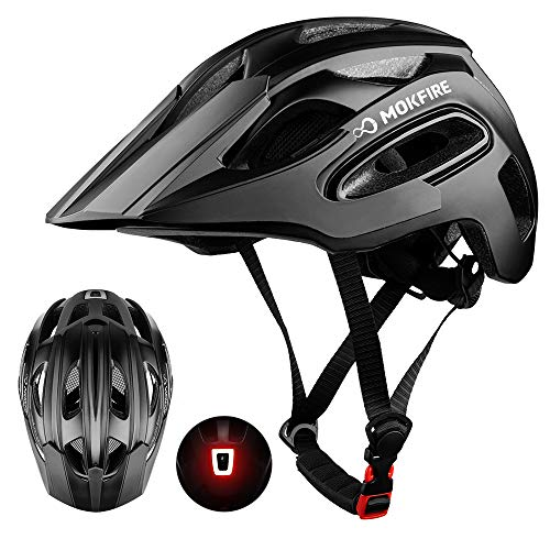 MOKFIRE Mountain Bike Helmet for Adult Men Women with USB Safety Light, Adjustable MTB Cycling Bicycle Helmet CPSC Certified with Detachable Long Visor/Large Vents, 21.26-24 Inches (Black)