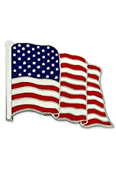 Made in USA American Flag Pin- Silver