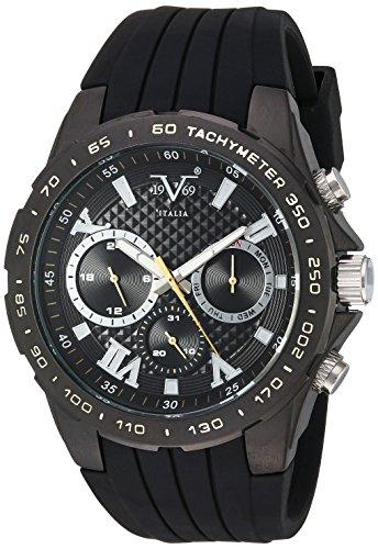 V19.69 Italia Men's Quartz Metal and Silicone Casual Watch, Color:Black (Model: 37VM100401A)
