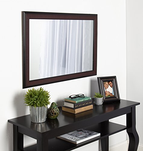 DesignOvation Virgo 23x34 inches Black and Mahogany Over The Sofa Framed Wall Mirror