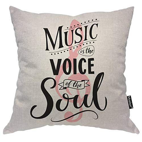 Moslion Inspirational Quote Pillows Music is The Voice of The Soul Word Note Polka Dot Throw Pillow Cover Decorative Pillow Case Square Cushion Accent Cotton Linen Home 18x18 Inch (Polka Decorative Pillow Dot)