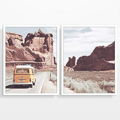 Vintage Volkswagen Bus in Arizona Photography prints, Set of 2, UNFRAMED, Arizona adventure Wall art decor poster sign, 8x10 ()