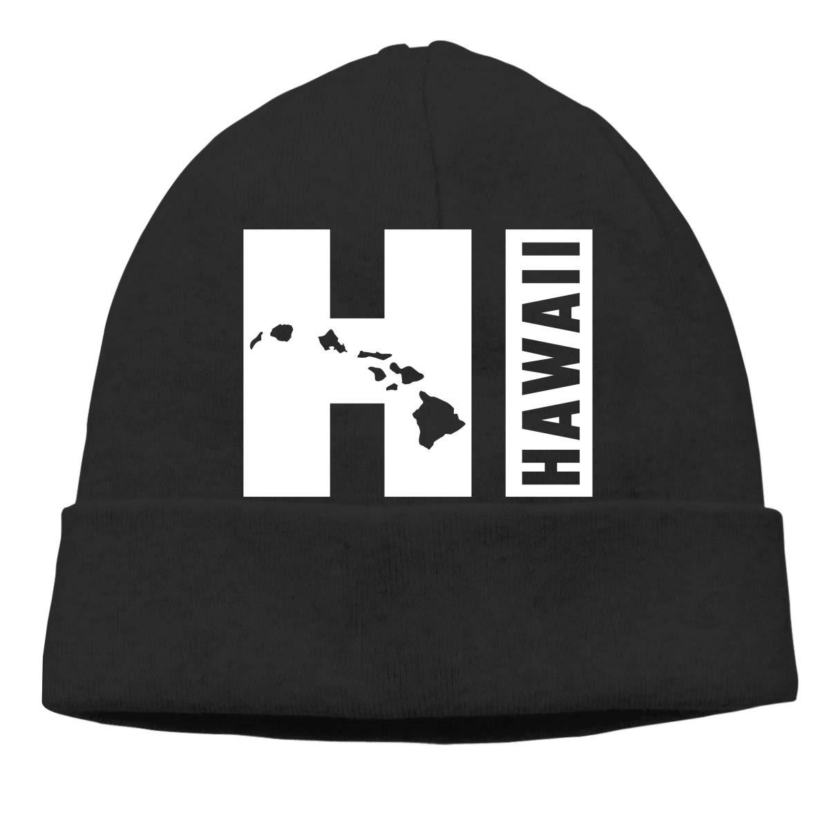 Unisex Knit Hat Creative Hawaiian Beautiful Sticker2 Print Hats Soft Stretch Beanies Black