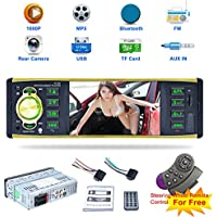 4.1 Inch Car MP5 Player, Car MP5 Card Radio Player U Disk Support Reversing Video Camera Car Stereo Audio MP5 Player with Bluetooth Function Support Hands-free Calls(With Backup Camera)