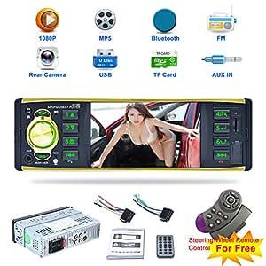 Coche Estéreo Reproductor de MP5, 4019b Single DIN pantalla táctil coche reproductor con Bluetooth cámara de copia de seguridad, tarjeta TF inalámbrica con mando a distancia