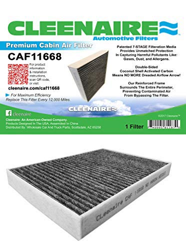Cleenaire CAF11668 The Most Advanced Protection Against Smog Dust Allergens Gasses Odors, Double Carbon Cabin Air Filter For All 11-17 Dodge Charger's,Challenger's And Chrysler 300's