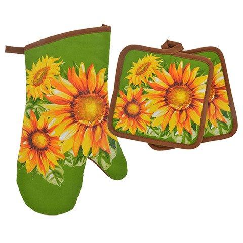 TopNotch Outlet Sunflower Decor - Potholder Towel Linen Set of 4 Pieces Sunflower Design Includes 1 Kitchen Towel 2 Potholders 1 Oven Mitt - Linen Sunflower Set - Kitchen Decor by TopNotch Outlet (Image #2)'