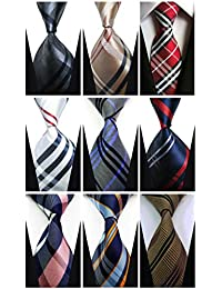 Set of 9 w3dayup mens Classic Tie Necktie Woven JACQUARD Neck Ties For Men