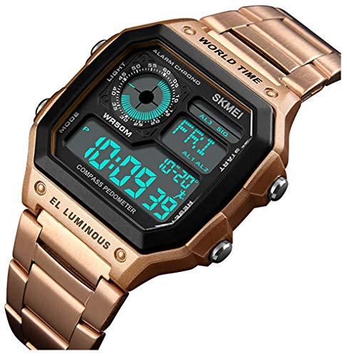Men's Luxury Digital Waterproof Wrist Watches Multi-Function Pedometer Calories Compass World Time Countdown Stopwatch Sports Watch (Rose Gold)