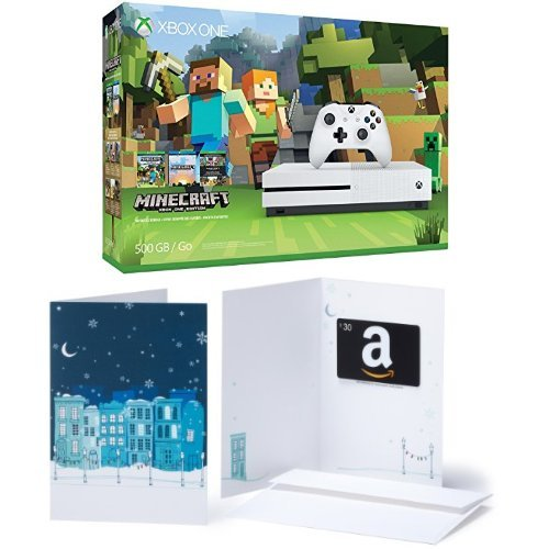 Xbox One S 500GB Console – Minecraft Bundle + $30 Amazon Gift Card
