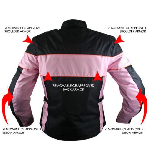 Xelement CF462 Womens Black/Pink Tri-Tex Fabric Motorcycle Jacket with Advanced - Medium by Xelement (Image #1)
