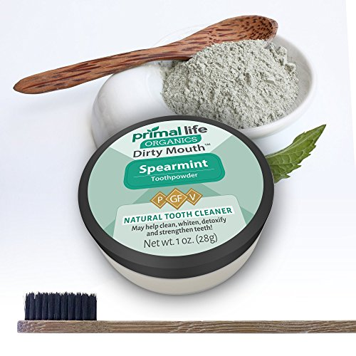 Dirty Mouth Organic Toothpowder #1 BEST RATED All Natural Dental Tooth Powder Cleanser- Gently Polishes, Detoxifies, Re-Mineralizes, Strengthens Teeth -Spearmint (1oz=3mo Supply) -Primal Life Organics by Primal Life Organics (Image #6)