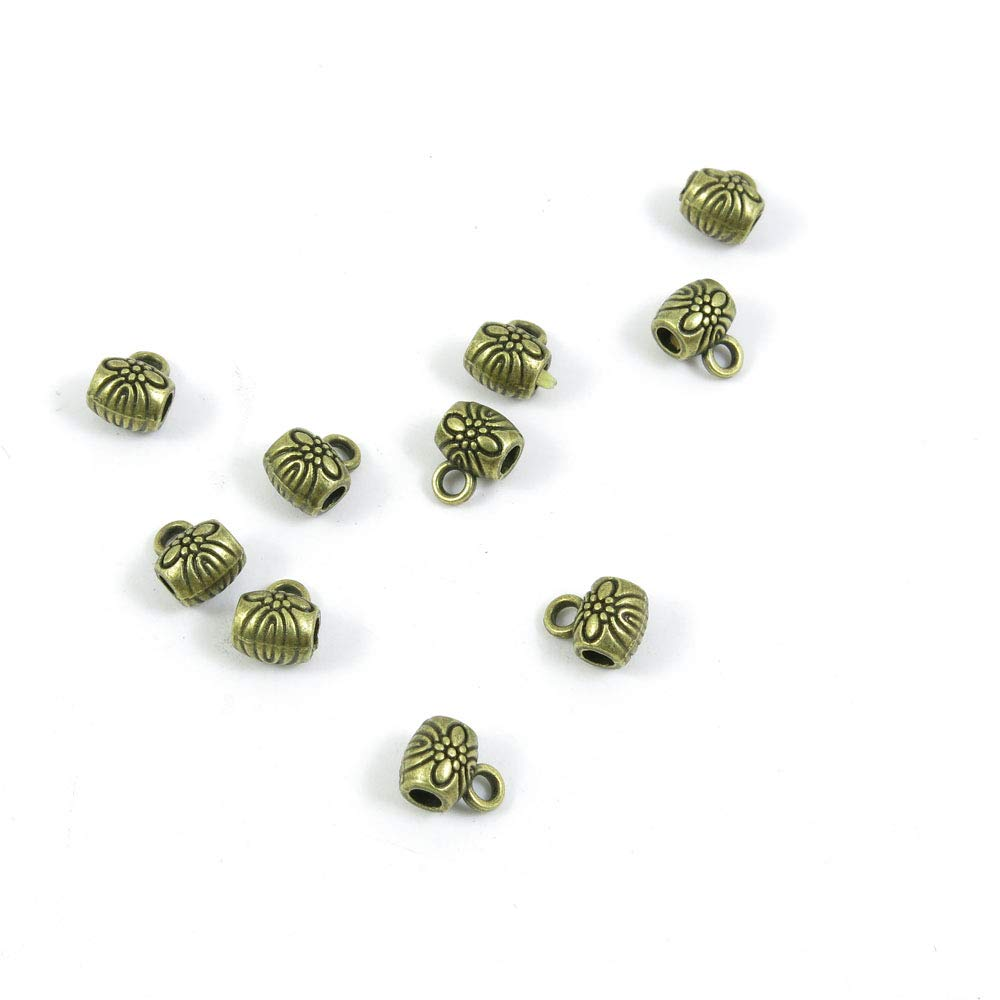 Price per 3910 Pieces Antique Bronze Tone Jewelry Charms Findings Arts Crafts Beading Making Charmes R7HA1N Flower Bead Bail Cord Ends