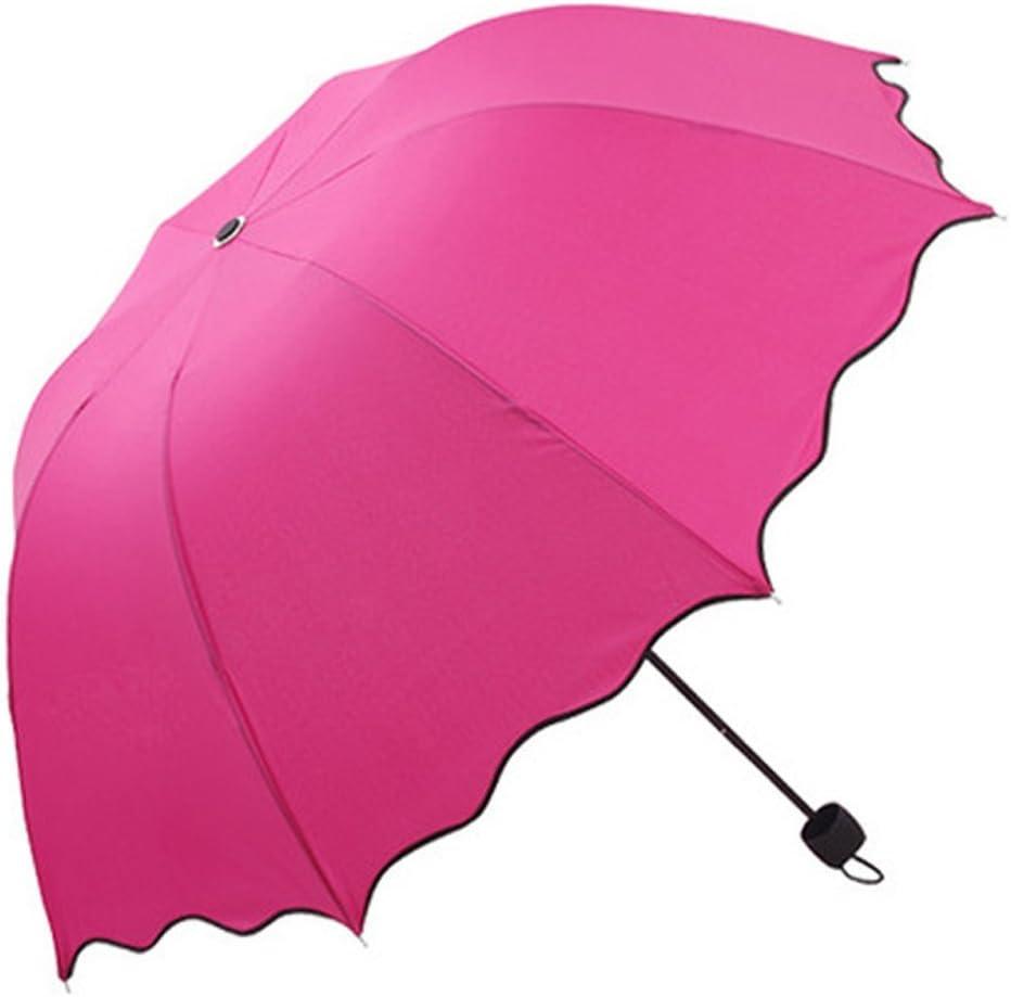 Malloom ® Flouncing Lotus plegado da Princesa cúpula sombrilla sol y lluvia paraguas, rosa oscuro (multicolor) - Malloom®-379: Amazon.es: Equipaje