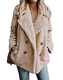 PRETTYGARDEN Women's Warm Long Sleeve Lapel Open Front Button Draped Fleece Coat Fluffy Outwear with Pockets