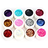 YESURPRISE 12 Color Glitters Sequin Nail Art Tips Powder Builder Polish Manicure Shiny Paillette UV Gel DIY Decoration