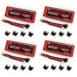 Venom 40C 2S 5000mAh 7.4V Hard Case LiPo Battery ROAR with Universal Plug (EC3/Deans/Traxxas/Tamiya) x4 Packs