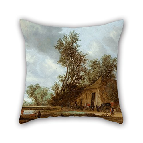 Oil Painting Salomon Van Ruysdael - The Halt At The Inn Pillowcase 18 X 18 Inches / 45 By 45 Cm Gift Or Decor For Gf,bedroom,valentine,husband,adults,play Room - Double Sides