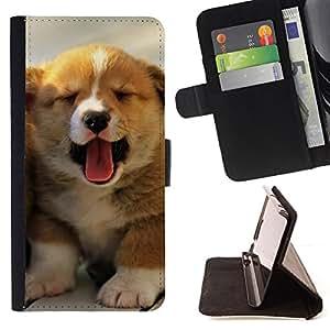 KingStore / Leather Etui en cuir / Sony Xperia Z2 D6502 / Cachorro Bostezo Lengua Pastor Australiano