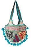 Tribe Azure Women Woven Floral Casual Blue Tote Tassel Unique Purse Over Shoulder Bag Hippie Boho Colorful Summer Handmade Tribal