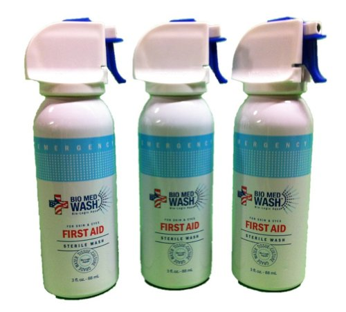 Bio Med Wash Three 3-ounce Spray Cans of Sterile Wash for Skin & Eyes