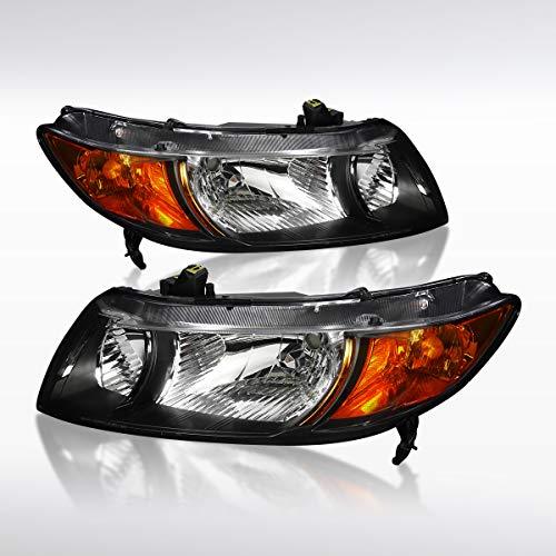 Autozensation For Honda Civic 2Door Coupe Black Clear Headlights w/Amber Reflector - 2007 Door Honda Civic 2
