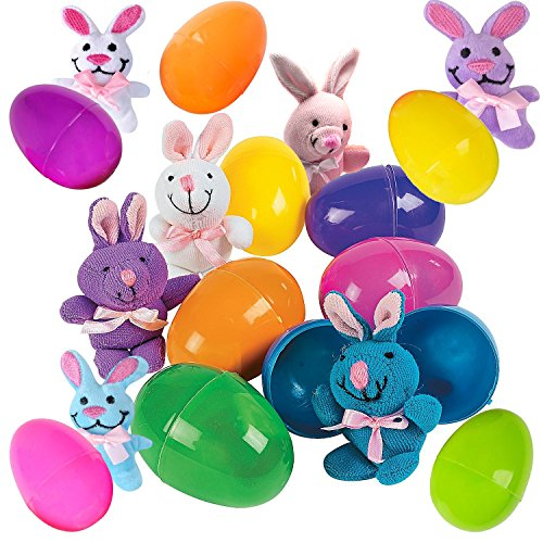 12 Toy Filled Easter Eggs With Miniature Stuffed Bunnies In Pastel Colors - Ready To Hide And Hunt - Save Time With Convenient, Reusable Filled Eggs - Perfect As Easter Basket Fillers or Party Favors (Miniature Stuffed Toys)