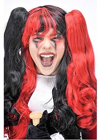 Damas negro y rojo peluca estilo Harley Quinn