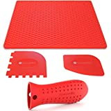 Sunsella Silicone Cast Iron Potholder Set - Hot Handle Holder with 2 x Pan Scrapers & Silicone Hot Pad for Metal Frying Pans & Skillets