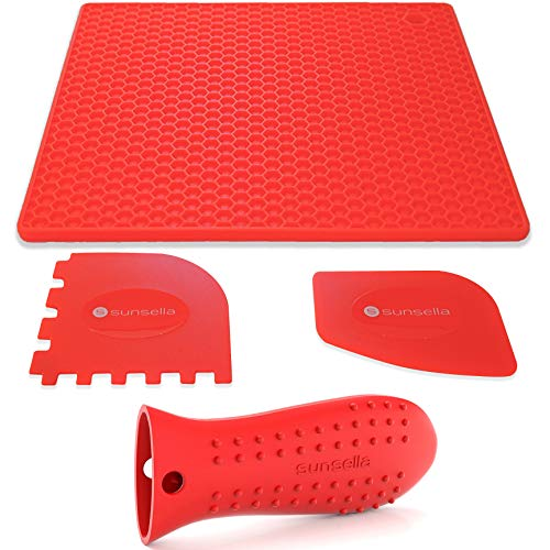 Sunsella Silicone Cast Iron Potholder Set - Hot Handle Holder with 2 x Pan Scrapers & Silicone Hot Pad