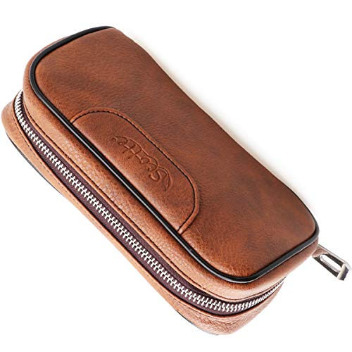 Scotte PU Leather tobacco Smoking Wood pipe pouch case/bag for 2 tobacco pipe and other accessories(Does not include pipes and accessories) by Scotte (Image #2)