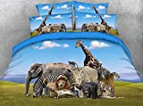 JF-018 African animals scenery printed duvet cover set 3pcs elephant tiger giraffe lion hippo bedding sets kids bed linen (Full)