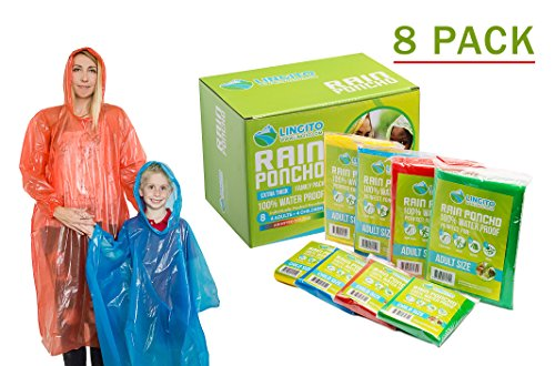 Lingito Rain Poncho Family Pack: Extra Thick -Disposable Emergency Rain Ponchos for Men, Women and Teens, Children (8pack) -