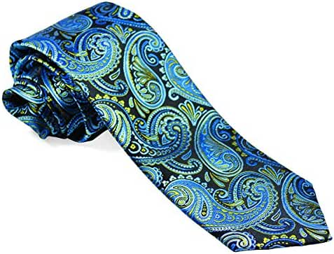 Aqua Blue Paisley Silk Necktie Set by Paul Malone