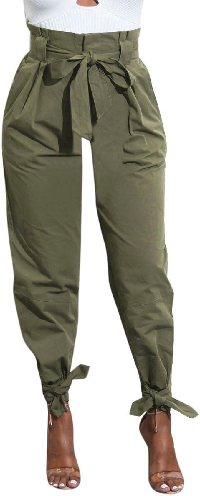 Amazon.com: GoodLock - Pantalones de cintura alta con ...