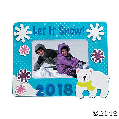 Set of 12 Winter Picture Frame Magnet Craft Kit ~ Snow, Snowflakes and Polar Bears!
