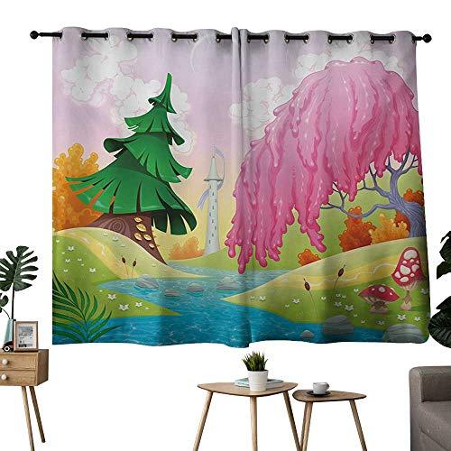 NUOMANAN Bedroom Curtain Cartoon,Fantasy Landscape with Unusual Trees Riverside Drawing Spring Summer Season Print,Multicolor,Adjustable Tie Up Shade Rod Pocket Curtain 52