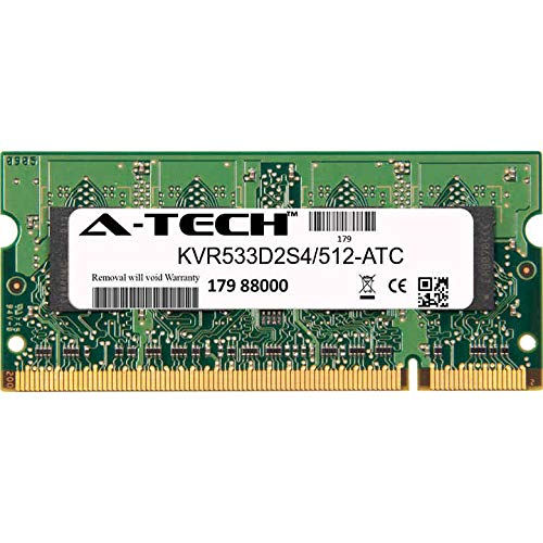 A-Tech 512MB Replacement for Kingston KVR533D2S4/512 - DDR2 533MHz PC2-4200 Non ECC SO-DIMM 1.8v - Single Laptop & Notebook Memory Ram Stick (KVR533D2S4/512-ATC) 512mb Pc2 4200 Sodimm Memory