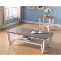 161602CT-ET Smart Home Ivory & Dark Taupe Coffee Table and End Table Set