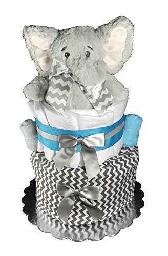 Diaper Cake for a Boy - Elephant Baby Shower Centerpiece - Turquoise and Gray by Sunshine Gift Baskets