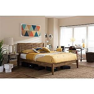 Baxton Studio Loafey Mid-Century Modern Solid Wood Window-Pane Style Platform Bed King