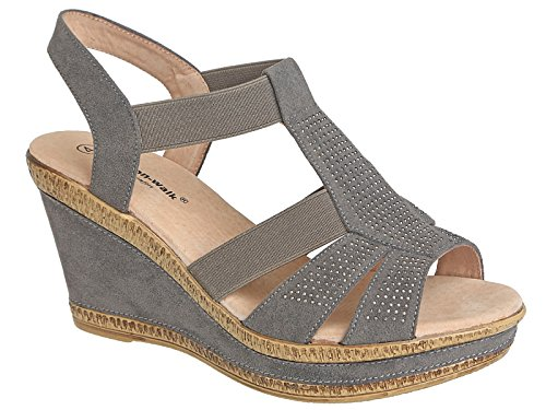 Damenschuhe von Walk breite E Passform Leder gefüttert Sommer Sandale, Größe 3�? (UK) A85 Grey