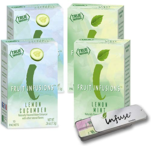 True Lemon (FRUIT INFUSIONS): Lemon CUCUMBER & Lemon MINT 4pk (2 boxes each flavor; 4 boxes total) | 0 Calories, 0 Sugar, Non-GMO (True Citrus) | Includes a convenient travel case.