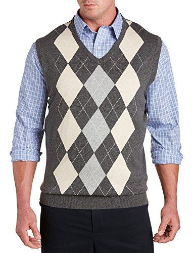 [Harbor Bay Big & Tall V-Neck Argyle Vest (4XLT, Black Multi)] (Argyle V-neck Vest)